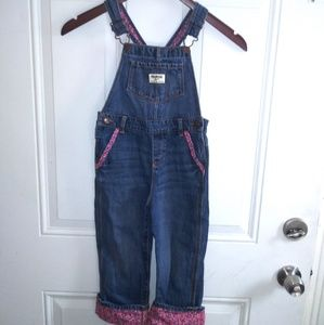 Oshkosh 5T Denim and Pink Floral Overral